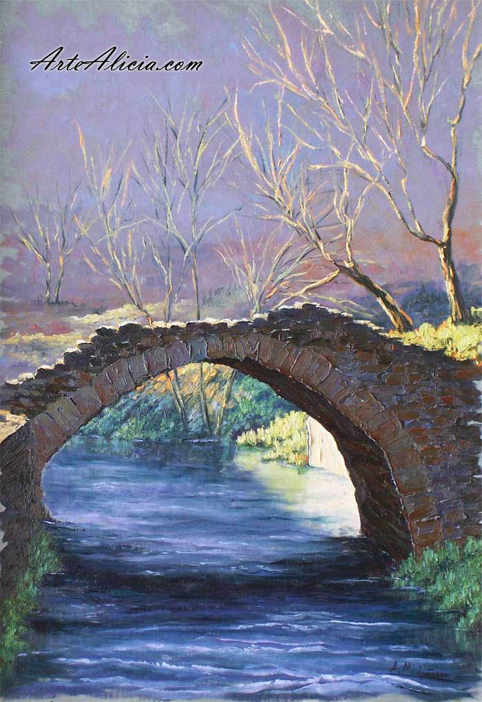 Cuadro puente sobre el rio hoza for Comprar cuadros bonitos