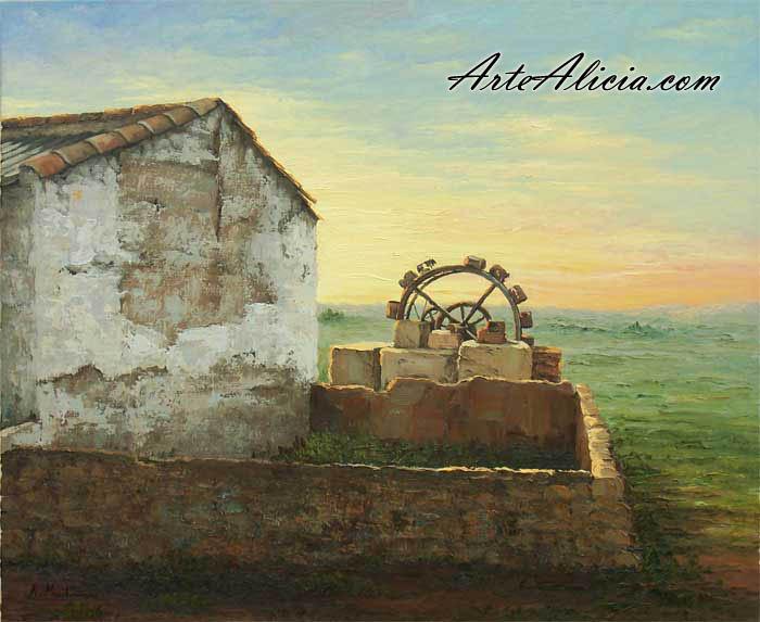 Cuadros cuadros al leo de paisajes manchegos molinos - Laminas antonio lopez ...